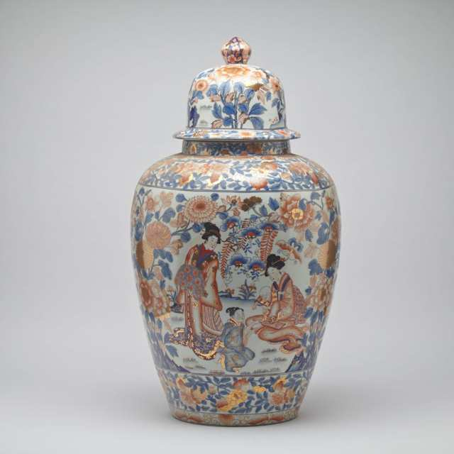 Large Imari-Style Figural Vase and Cover