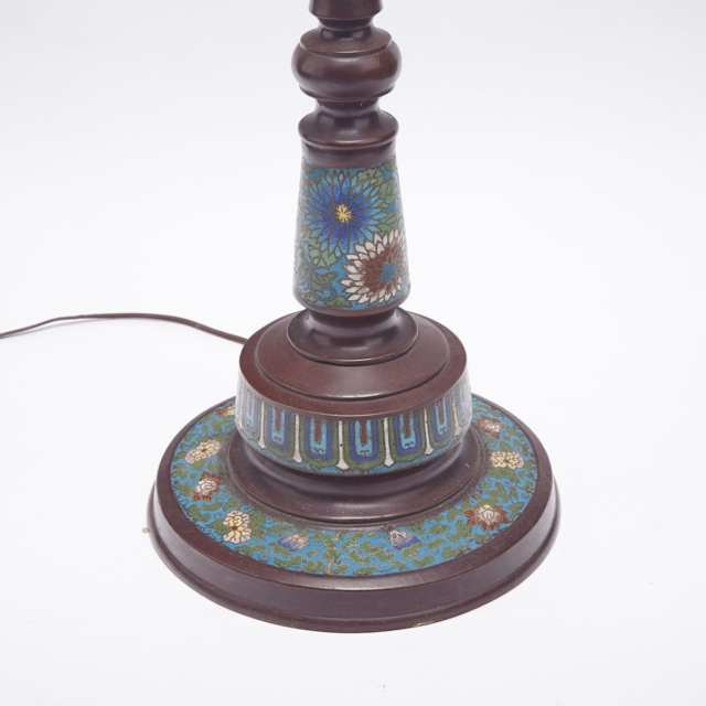 Bronze and Champlevee Enamel Lamp, Meiji Period, Circa 1900
