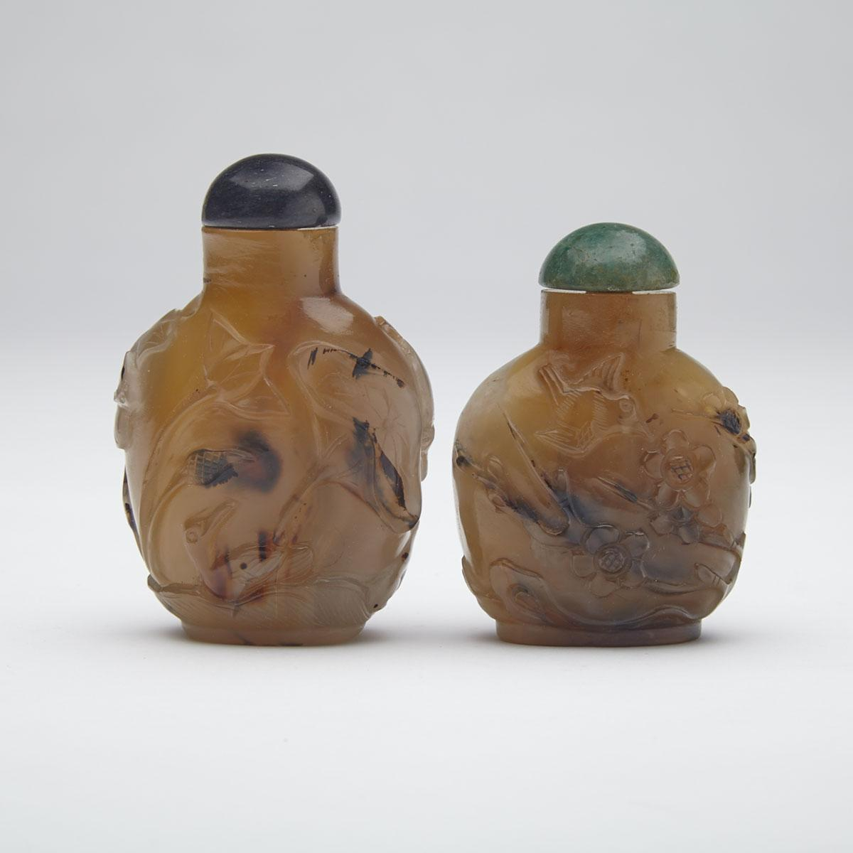 Two Carved Agate Snuff Bottles
