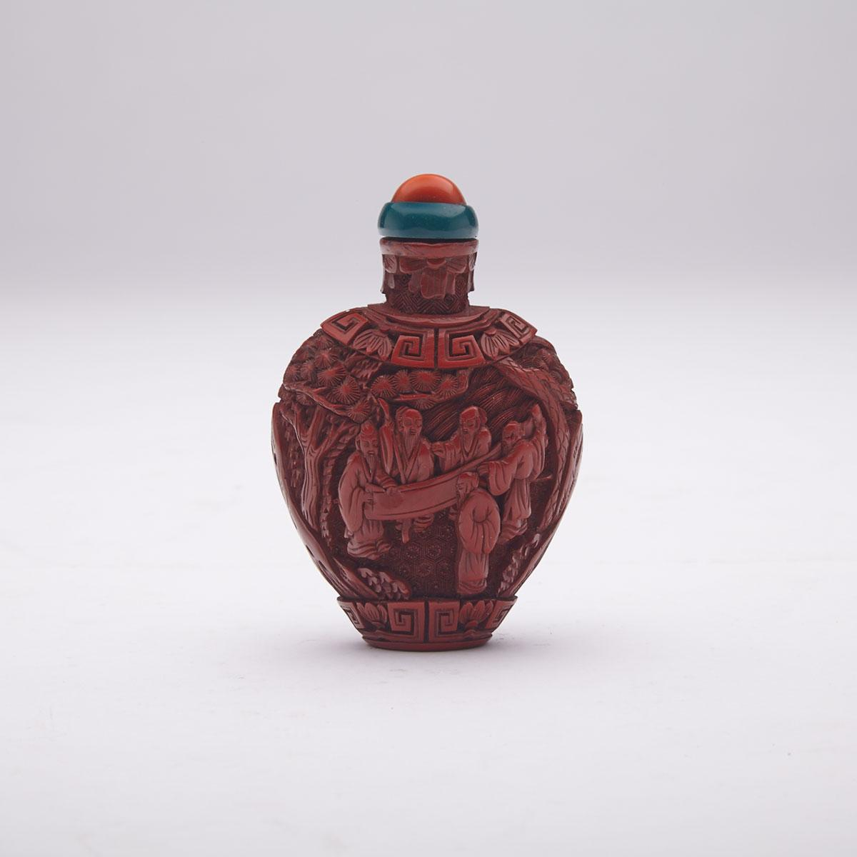 Cinnabar Lacquer Carved 'Scholars' Snuff Bottle, 19th Century