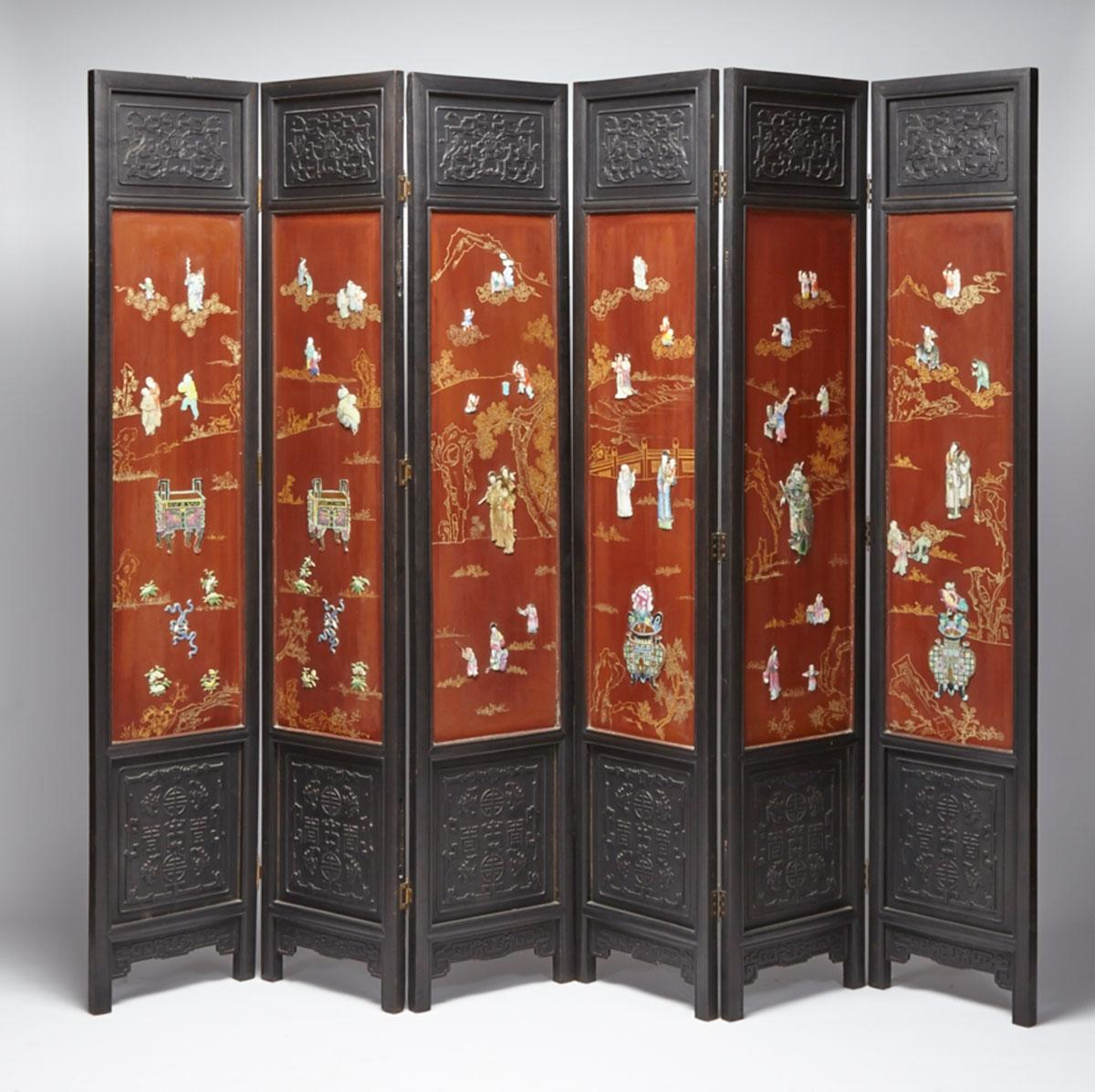Six-Panel Porcelain Inlay Lacquer Screen