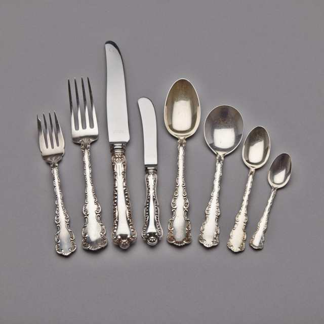 Canadian Silver Assembled 'Louis XV' and 'Pompadour' Pattern Flatware Service, Henry Birks & Sons, Montreal, Que., 20th century