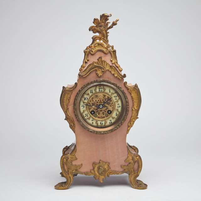 French Louis XV Style Ormolu Mounted Pink Marble Bracket Clock, c.1900