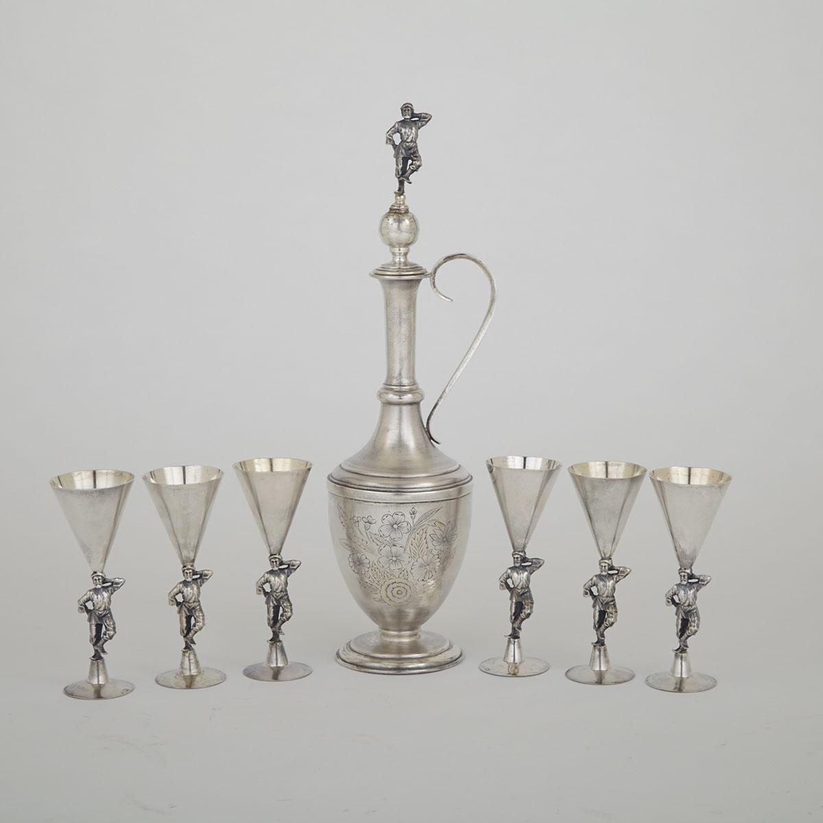 Russian Silver Carafe and Six Vodka Goblets, Moscow, 1908-17