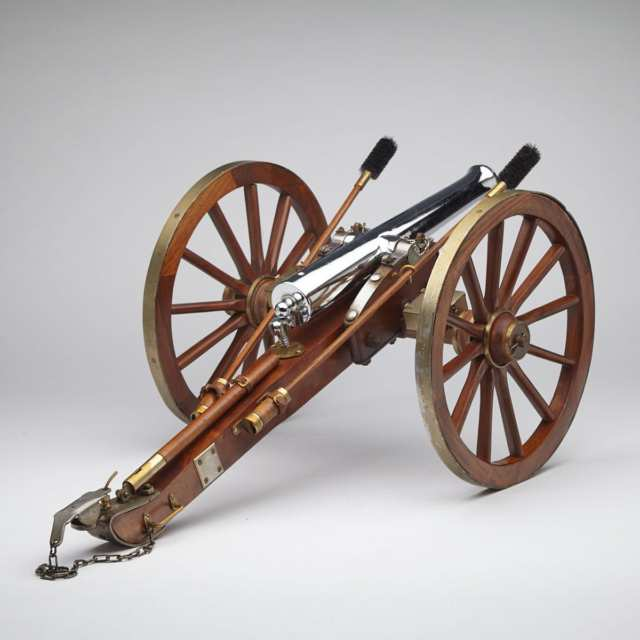 Spanish Model of a Napoleon III Field Cannon and Carriage, mid 20th century