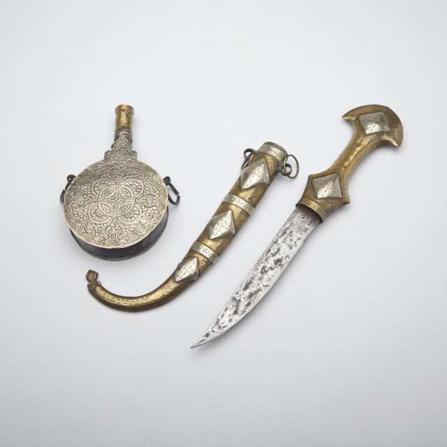 Moroccan Silver and Brass Power Flask and a Jambiya, 19th century