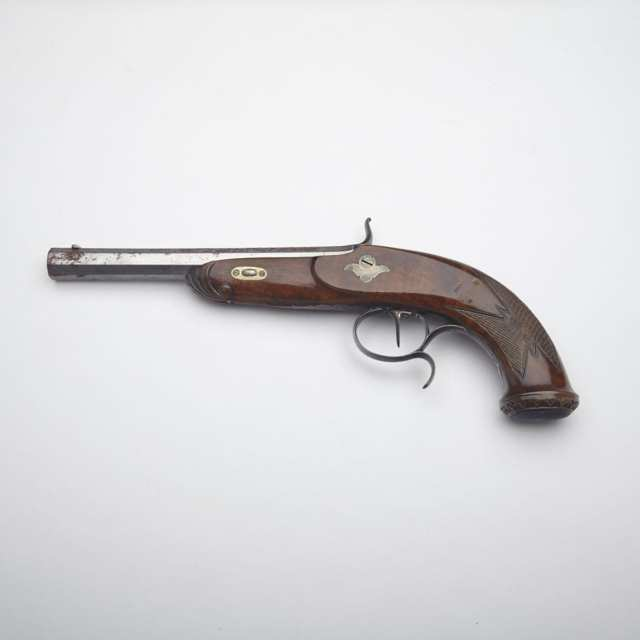Reproduction of a mid 19th century Continental Percussion Cap Pistol, mid 20t century
