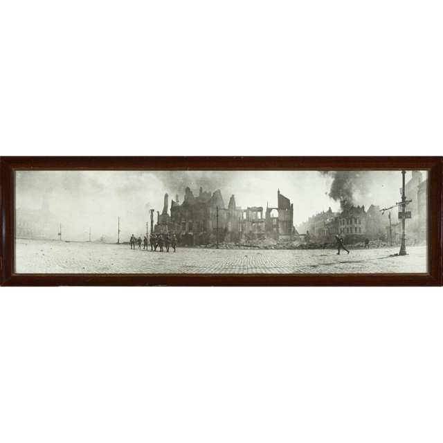 WWI Panorama Photograph of 3rd Canadian Division crossing the Square of Cambrai, France on October 9, 1918