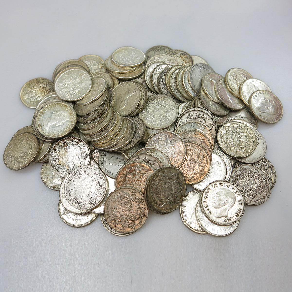 132 Canadian Silver Fifty Cent Coins