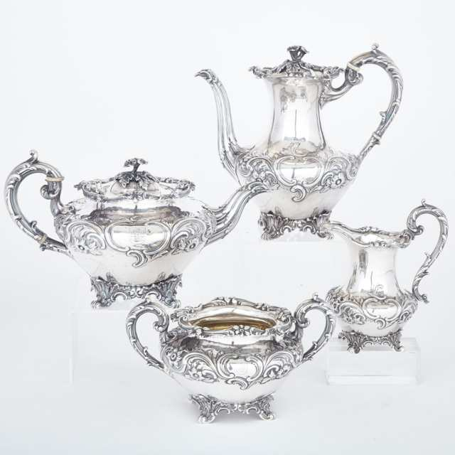 Early Victorian Silver Three-Piece Tea Service, Messrs. Barnard, London, 1836/37 and Matching Coffee Pot, William Comyns, London, 1914