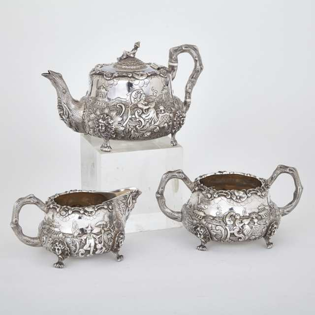 Victorian Silver Chinoiserie Tea Service, Charles Gordon and Francis David Dexter, London, 1840/41