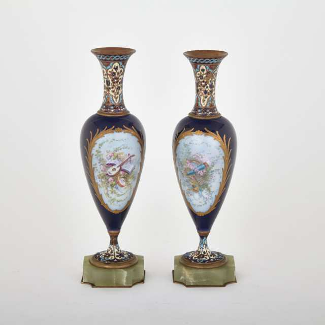 Pair of 'Sèvres' Blue Ground Vases, c.1900