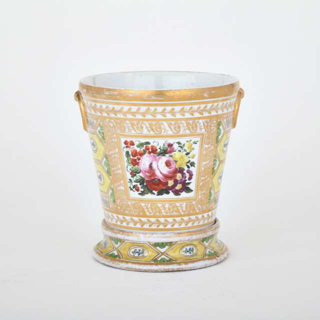 Coalport 'Church Gresley' Cachepot and Stand, c.1810-20