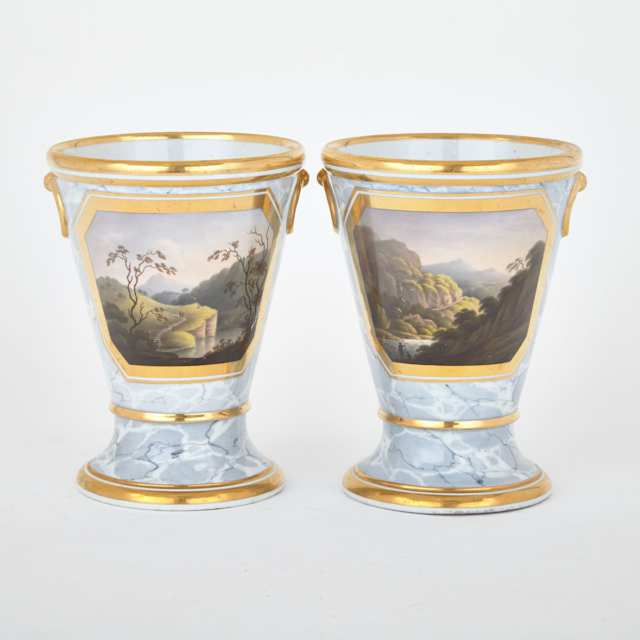 Pair of Barr, Flight & Barr Worcester Grey Marbled Ground Vases, c.1804-13