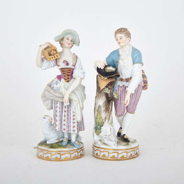 Pair of Meissen Porcelain Companion Figures Emblematic of Love's Destiny, c.1900