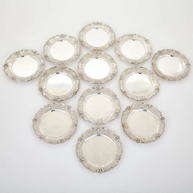 Set of Twelve American Silver Side Plates, Redlich & Co., New York, N.Y., 20th century