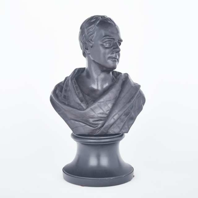 Wedgwood Black Basalt Bust of Sir Walter Scott, after Wyon, 19th century