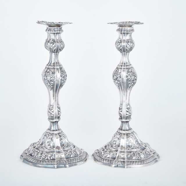 Pair of George III Silver Table Candlesticks, William Tuite, London, 1765