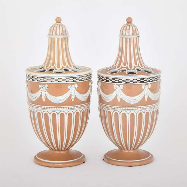 Pair of Wedgwood Slip Decorated Pearlware Bough Pots, c.1790
