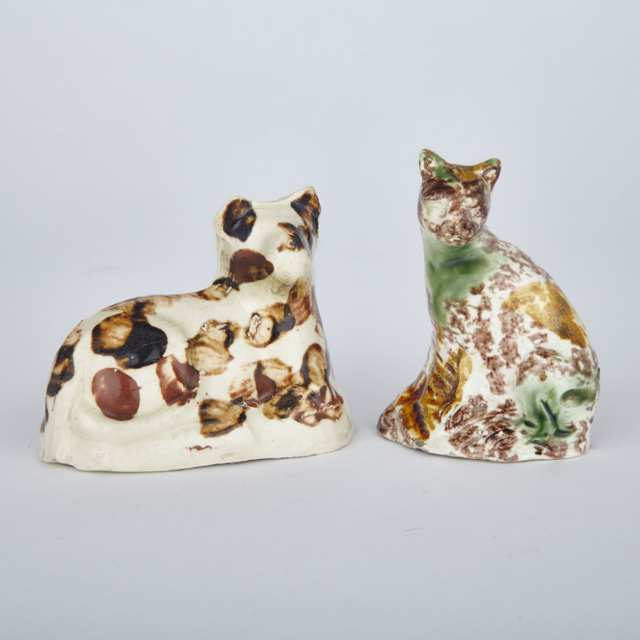 Bovey Tracey Creamware Model of a Cat and a Staffordshire Whieldon-Type Cat, late 18th century