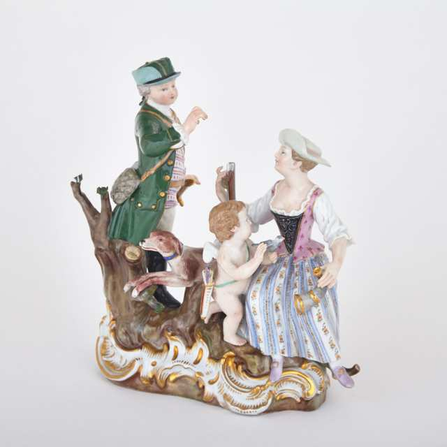Meissen Figure Group of a Huntsman and Companion, late 19th century