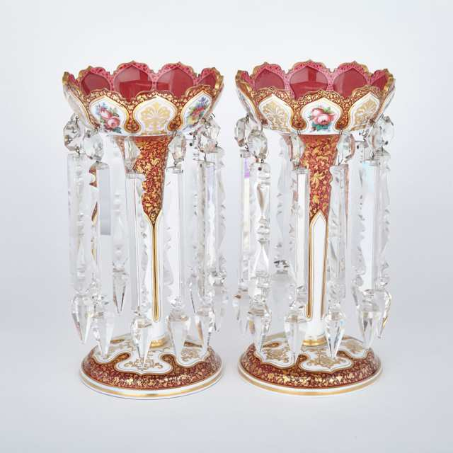 Pair of Bohemian Overlaid and Enameled Red Glass Lustres, late 19th century