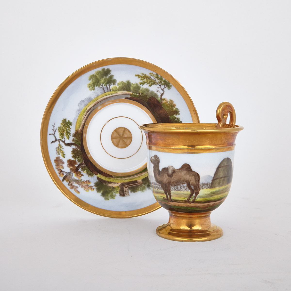Schoelcher, Paris Porcelain Zoological Cup and Saucer, c.1840