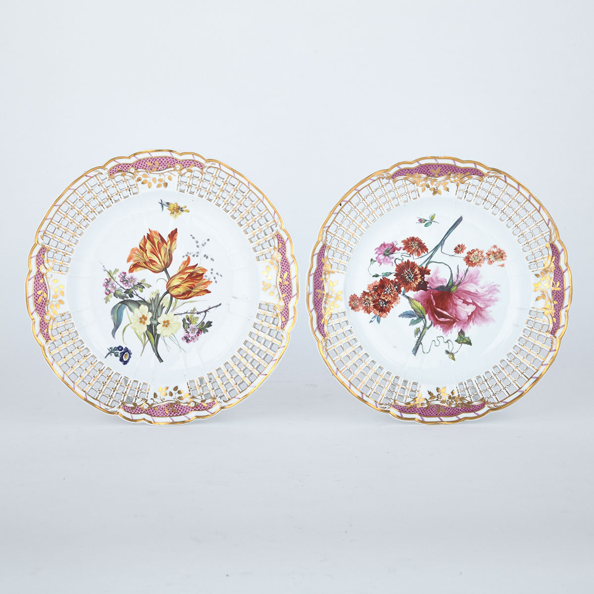 Two Derby Reticulated Plates, c.1825-30