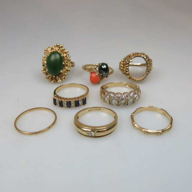 8 x 14k Yellow Gold Rings