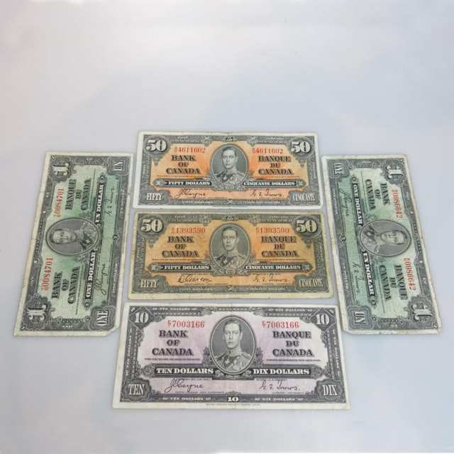 Five Canadian 1937 Bank Notes