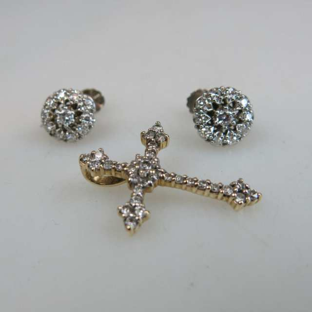 Pair Of 14k White Gold Screw-Back Earrings And A 14k Yellow Gold Cross Pendant