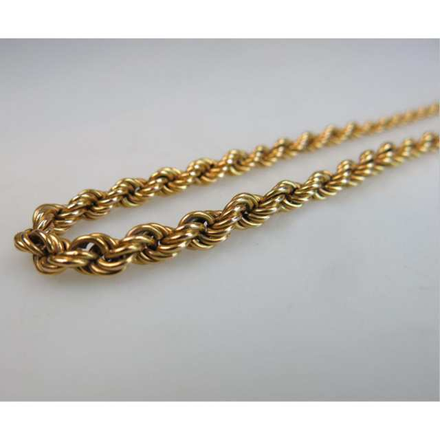 Russian 14k Yellow Gold Graduated Rope Chain