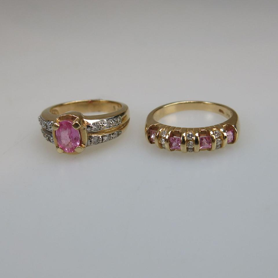 2 x 14k Yellow And White Gold Rings
