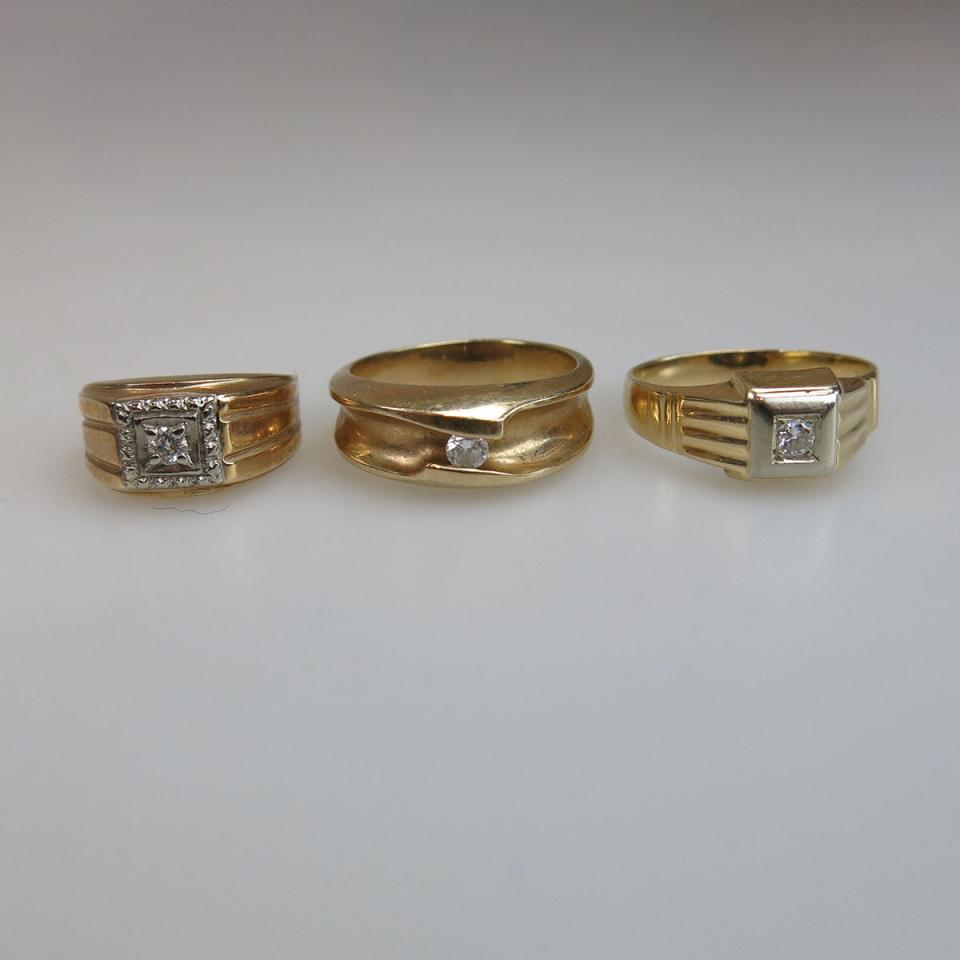 1 x 10k & 2 x 14k Yellow Gold Rings
