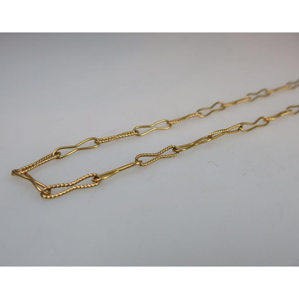 Italian 18k Yellow Gold Paper Clip Link Chain