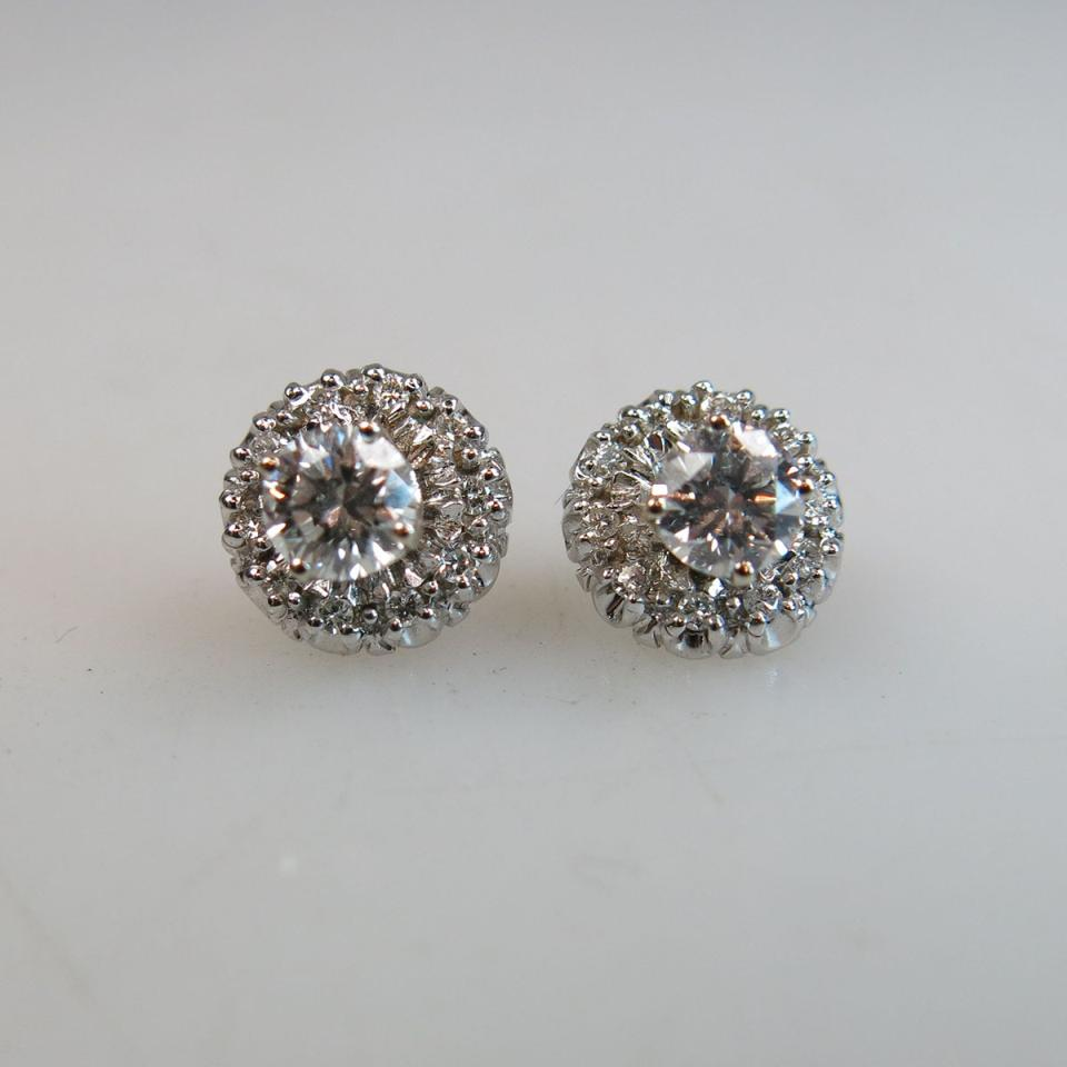 Pair Of 14k White Gold Stud Earrings