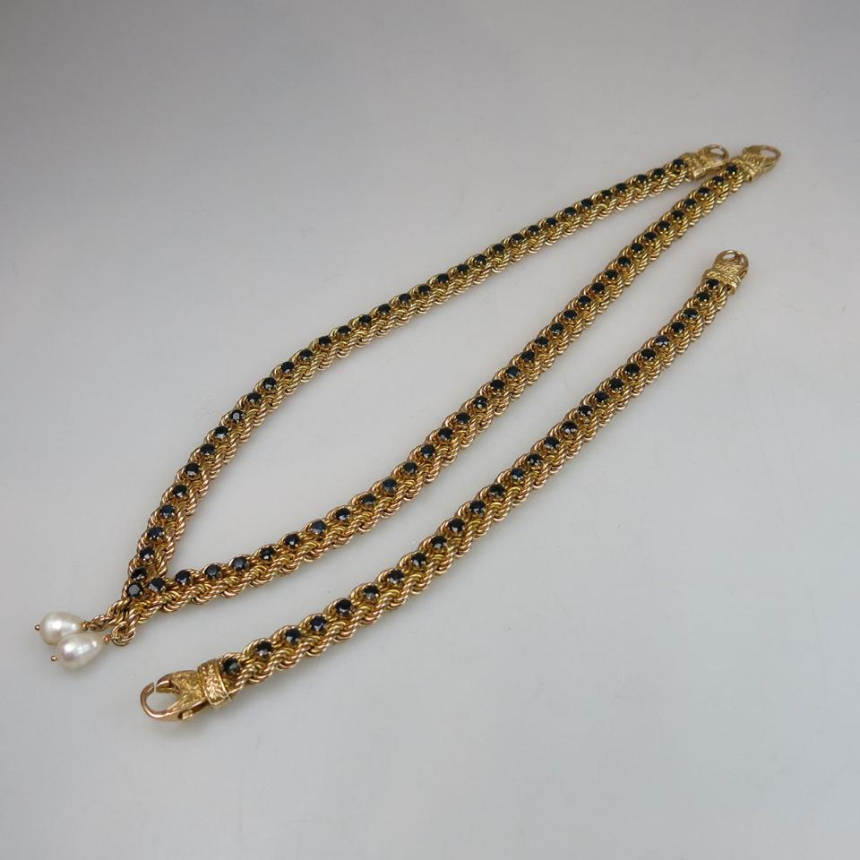 14k Yellow Gold Double Rope Necklace And Bracelet