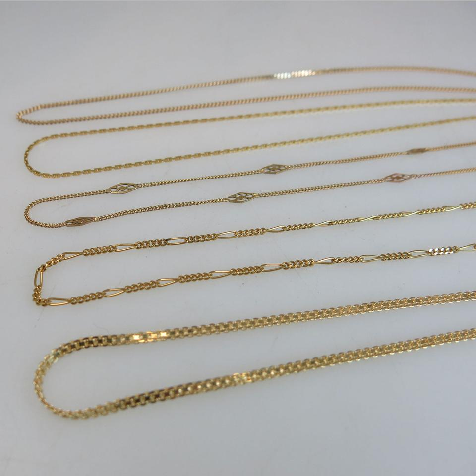 5 x 14k Yellow Gold Chains