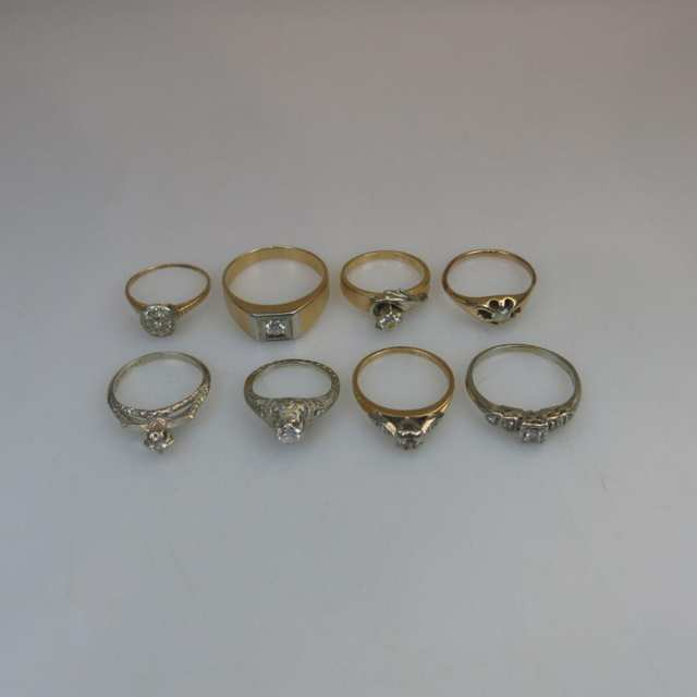1 x 10k, 5 x 14k & 2 x 18k Yellow Gold and White Gold Rings
