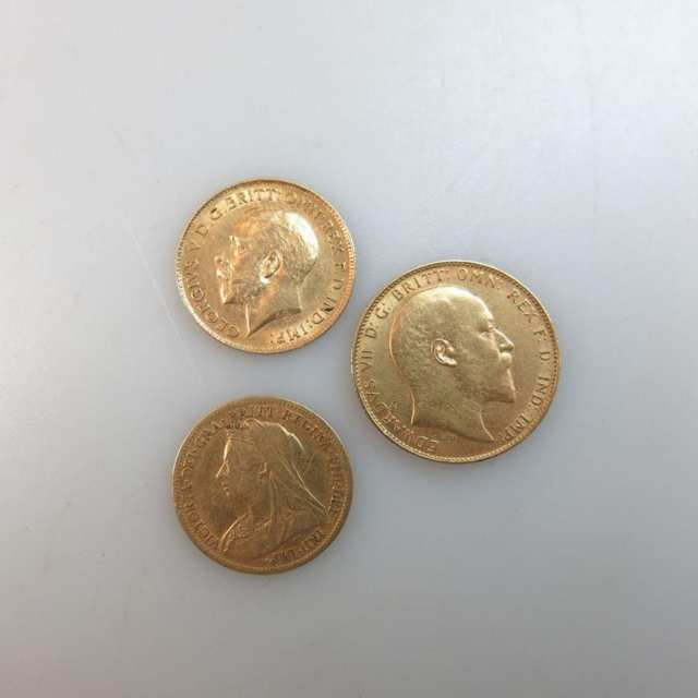 British Gold Sovereign (1907) And Two Gold Half Sovereigns (1900 & 1904)