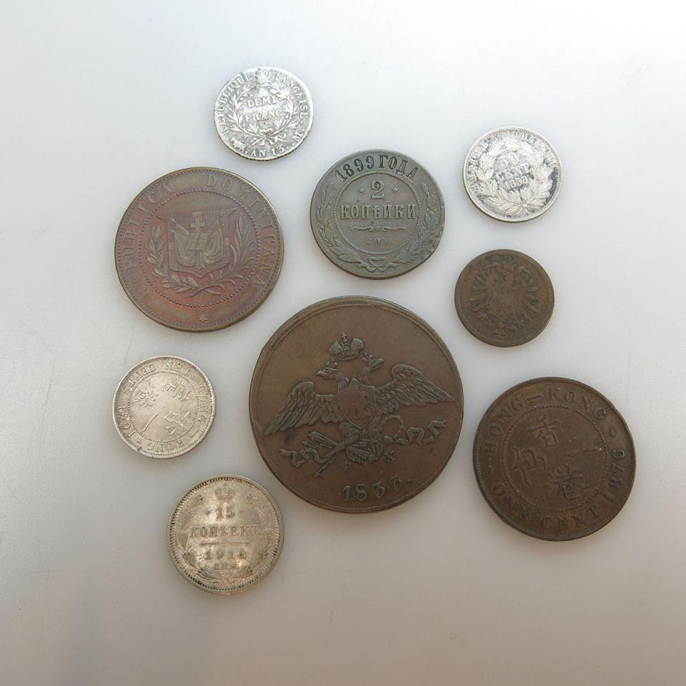 Nine Various World Coins
