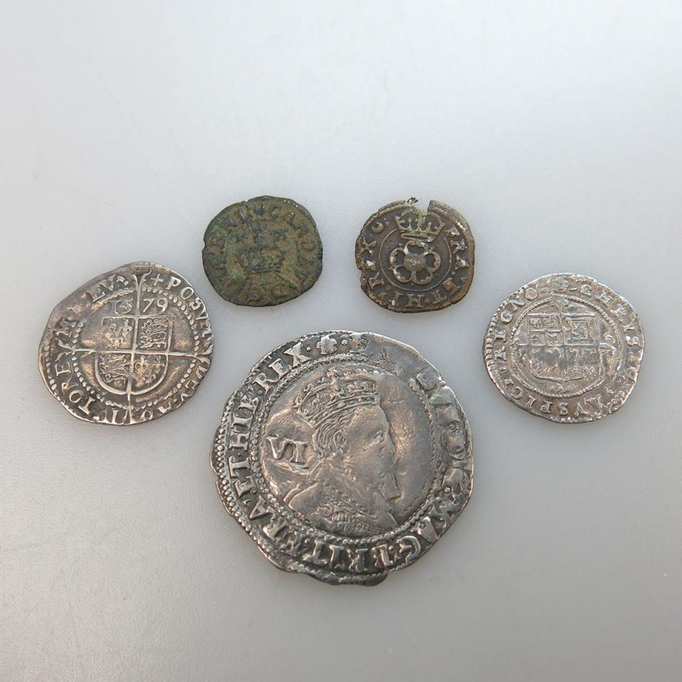 Five Hammered British Coins