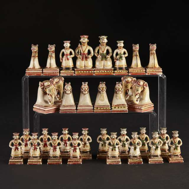 Mughal Carved and Polychromed Figural Chess Set, Rajasthan, early 19th century