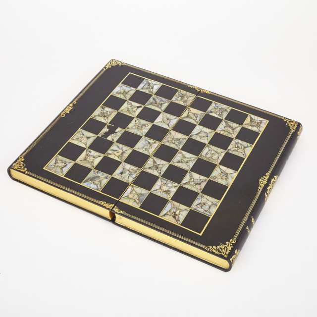 Victorian Black Lacquered, Abalone Inlaid and Parcel Gilt Games Board Box, 19th century