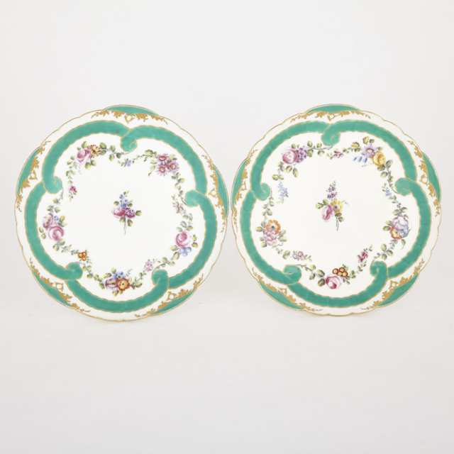 Pair of Sèvres Lobed Circular Dishes, c.1760