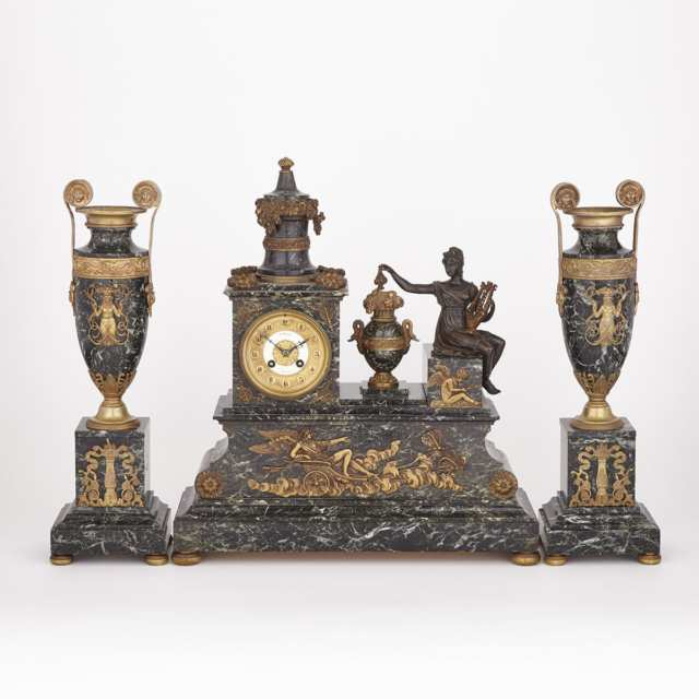 Three Piece Napoleon III Gilt and Patinated Bronze Mounted Verde Antico Marble Clock Garniture, c.1900