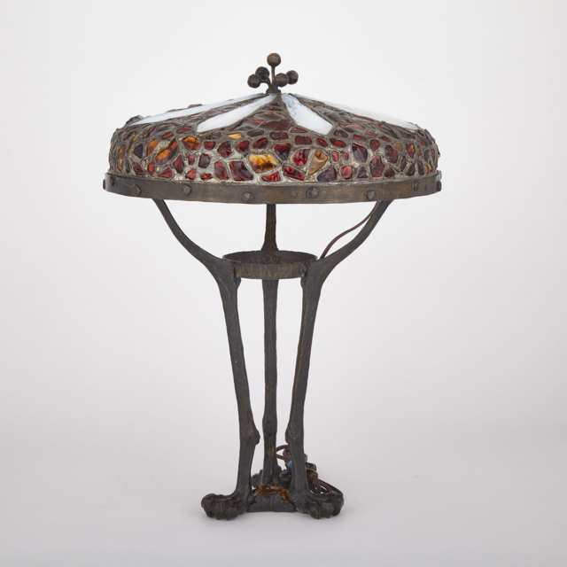 Austrian Patinated Bronze and Glass 'Chunk Jewel' Table Lamp, c.1890