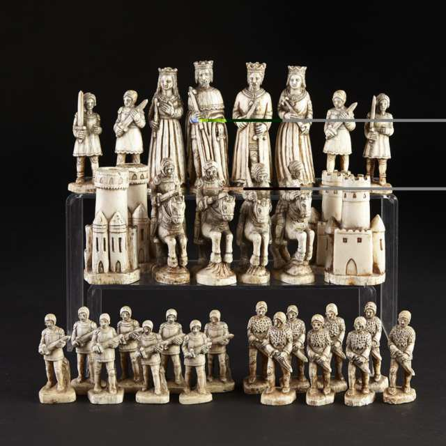French Carved Ivory Renaissance Style Figural Chess Set, mid 20th century