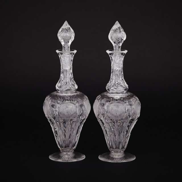 Pair of English 'Rock Crystal' Cut Glass Decanters, early 20th century