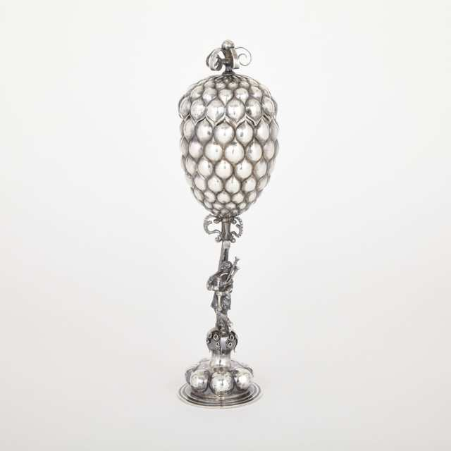 German Silver Pineapple Cup and Cover, B. Neresheimer & Söhne, Hanau, late 19th century